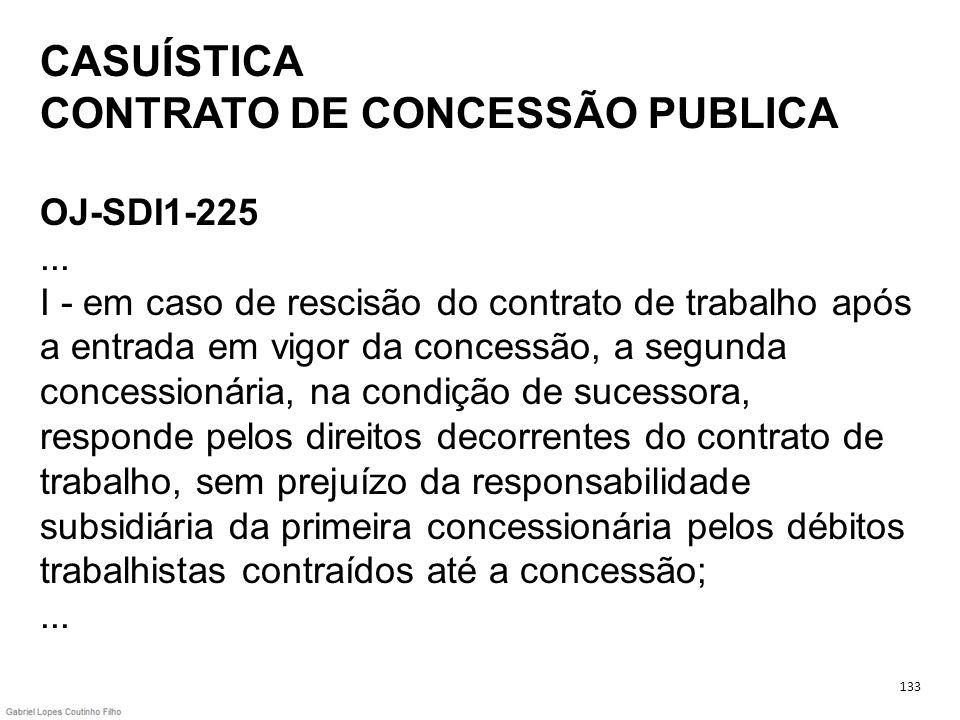 CASUÍSTICA CONTRATO DE CONCESSÃO PUBLICA OJ-SDI1-225