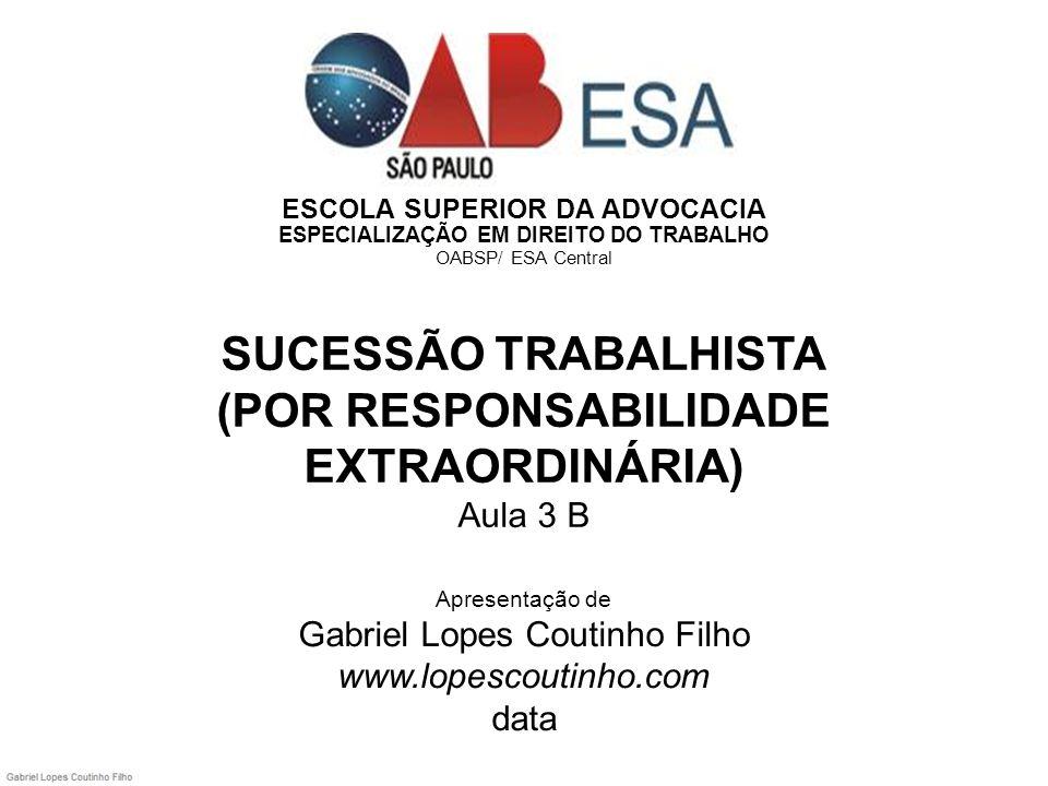 ESCOLA SUPERIOR DA ADVOCACIA ESPECIALIZAÇÃO EM DIREITO DO TRABALHO