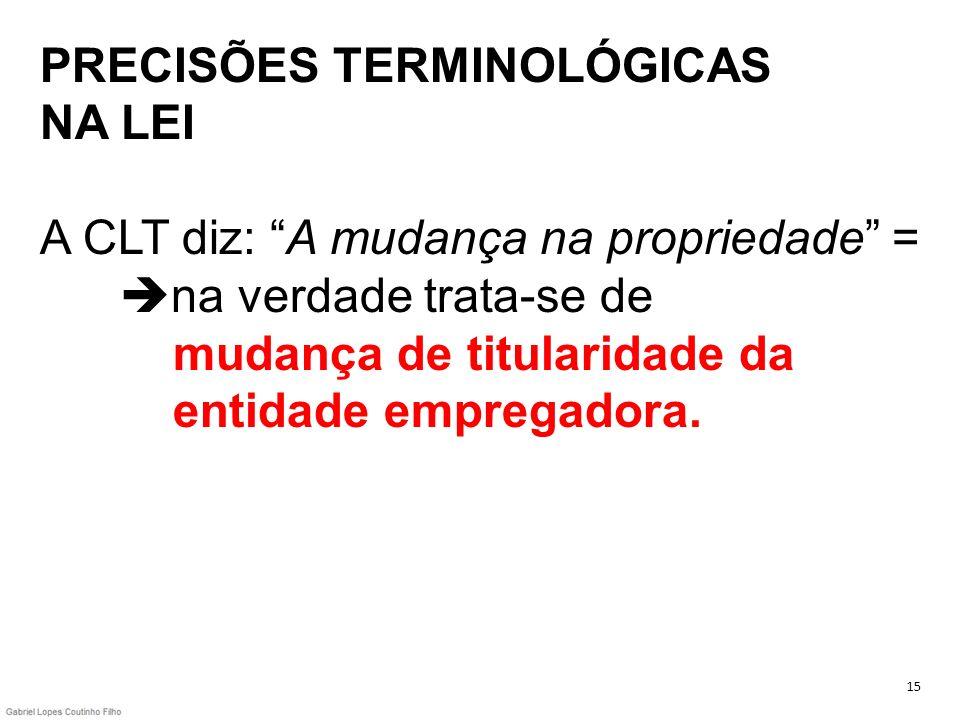 PRECISÕES TERMINOLÓGICAS NA LEI A CLT diz: A mudança na propriedade = na verdade trata-se de mudança de titularidade da entidade empregadora.