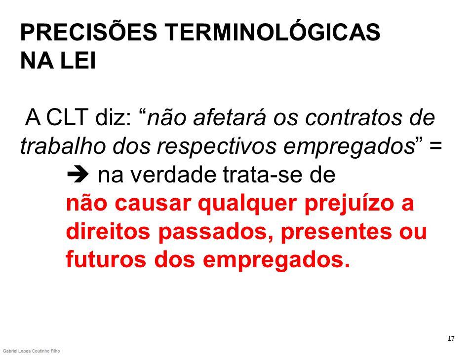 PRECISÕES TERMINOLÓGICAS NA LEI A CLT diz: não afetará os contratos de trabalho dos respectivos empregados =  na verdade trata-se de não causar qualquer prejuízo a direitos passados, presentes ou futuros dos empregados.
