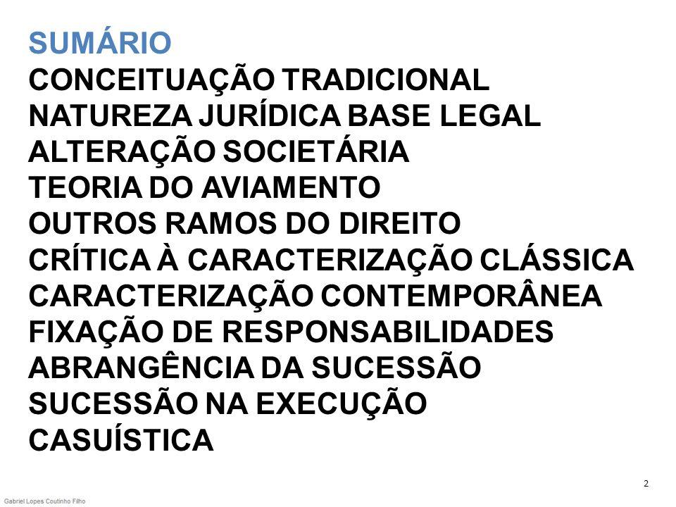 SUMÁRIO CONCEITUAÇÃO TRADICIONAL NATUREZA JURÍDICA BASE LEGAL ALTERAÇÃO SOCIETÁRIA TEORIA DO AVIAMENTO OUTROS RAMOS DO DIREITO CRÍTICA À CARACTERIZAÇÃO CLÁSSICA CARACTERIZAÇÃO CONTEMPORÂNEA FIXAÇÃO DE RESPONSABILIDADES ABRANGÊNCIA DA SUCESSÃO SUCESSÃO NA EXECUÇÃO CASUÍSTICA