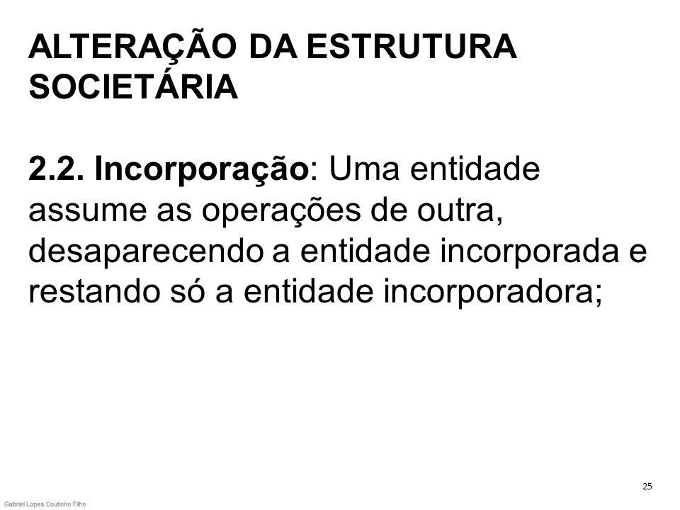 ALTERAÇÃO DA ESTRUTURA SOCIETÁRIA 2. 2