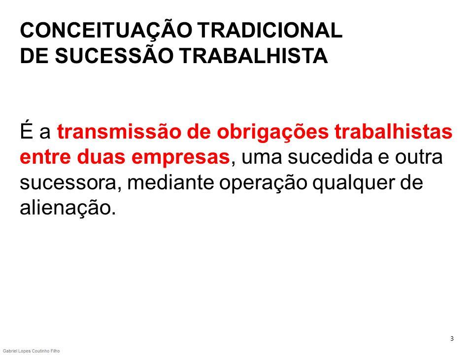 CONCEITUAÇÃO TRADICIONAL DE SUCESSÃO TRABALHISTA É a transmissão de obrigações trabalhistas entre duas empresas, uma sucedida e outra sucessora, mediante operação qualquer de alienação.