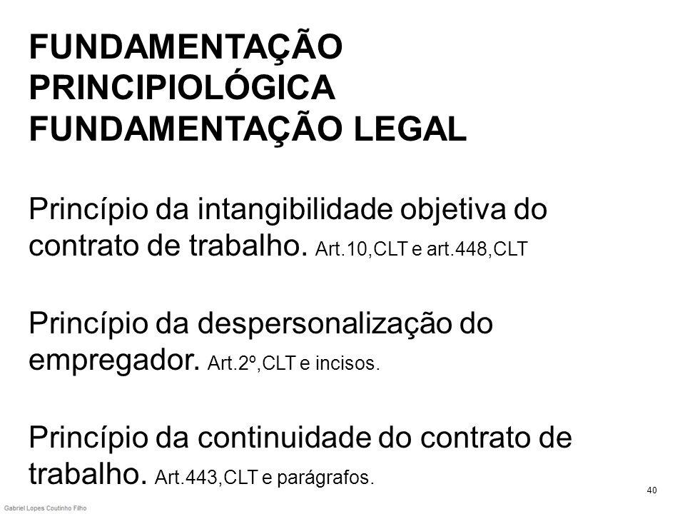 FUNDAMENTAÇÃO PRINCIPIOLÓGICA FUNDAMENTAÇÃO LEGAL Princípio da intangibilidade objetiva do contrato de trabalho. Art.10,CLT e art.448,CLT Princípio da despersonalização do empregador. Art.2º,CLT e incisos. Princípio da continuidade do contrato de trabalho. Art.443,CLT e parágrafos.
