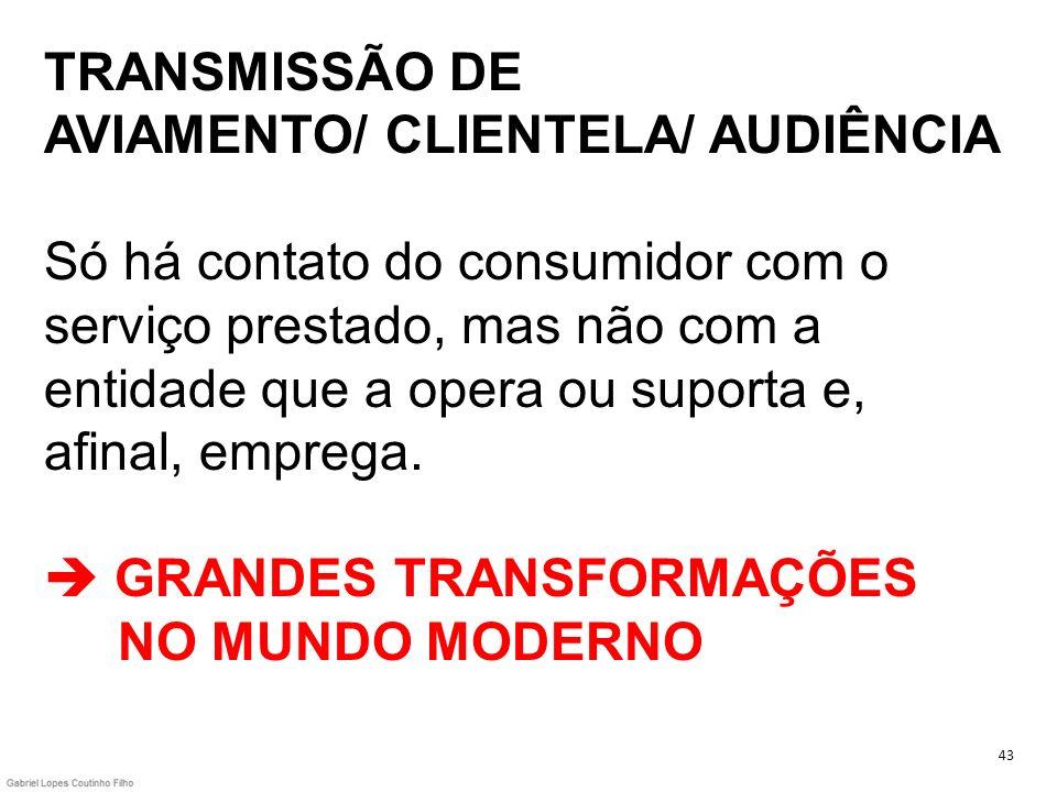 TRANSMISSÃO DE AVIAMENTO/ CLIENTELA/ AUDIÊNCIA Só há contato do consumidor com o serviço prestado, mas não com a entidade que a opera ou suporta e, afinal, emprega.  GRANDES TRANSFORMAÇÕES NO MUNDO MODERNO