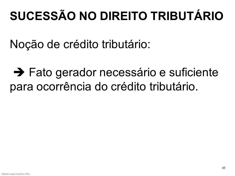 SUCESSÃO NO DIREITO TRIBUTÁRIO Noção de crédito tributário:  Fato gerador necessário e suficiente para ocorrência do crédito tributário.