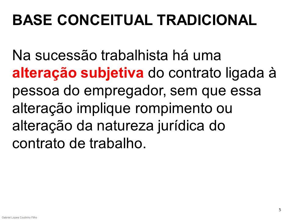 BASE CONCEITUAL TRADICIONAL Na sucessão trabalhista há uma alteração subjetiva do contrato ligada à pessoa do empregador, sem que essa alteração implique rompimento ou alteração da natureza jurídica do contrato de trabalho.
