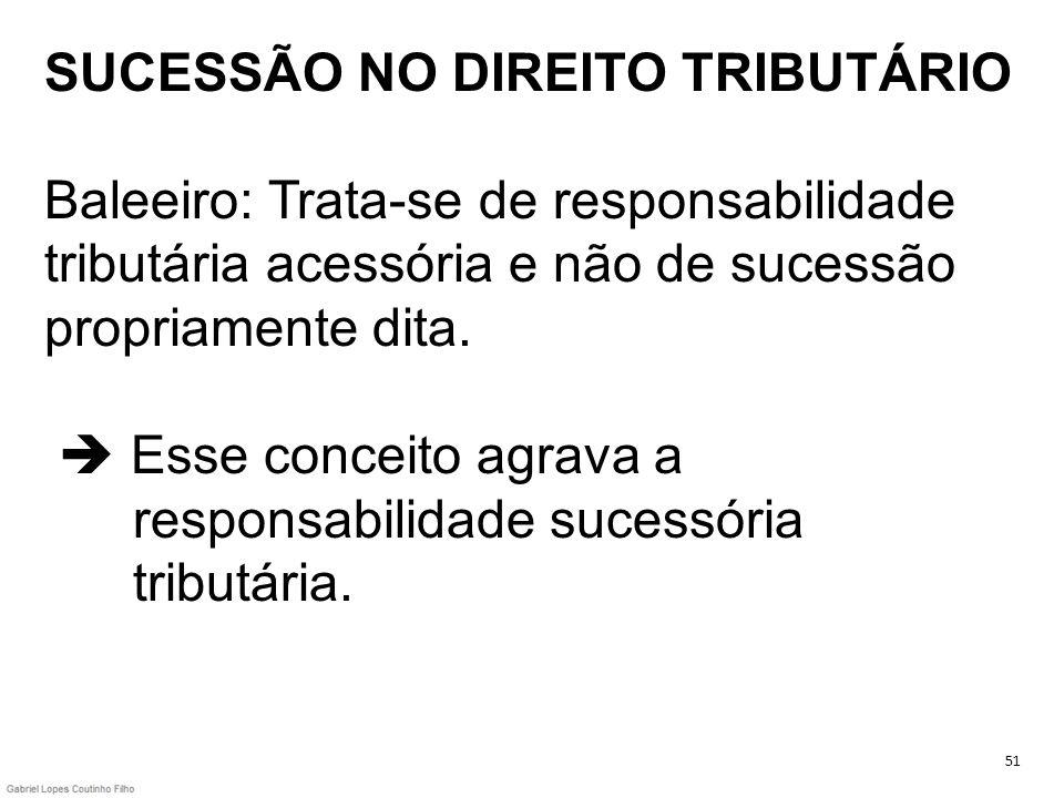SUCESSÃO NO DIREITO TRIBUTÁRIO Baleeiro: Trata-se de responsabilidade tributária acessória e não de sucessão propriamente dita.  Esse conceito agrava a responsabilidade sucessória tributária.