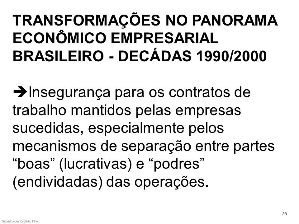 TRANSFORMAÇÕES NO PANORAMA ECONÔMICO EMPRESARIAL BRASILEIRO - DECÁDAS 1990/2000 Insegurança para os contratos de trabalho mantidos pelas empresas sucedidas, especialmente pelos mecanismos de separação entre partes boas (lucrativas) e podres (endividadas) das operações.