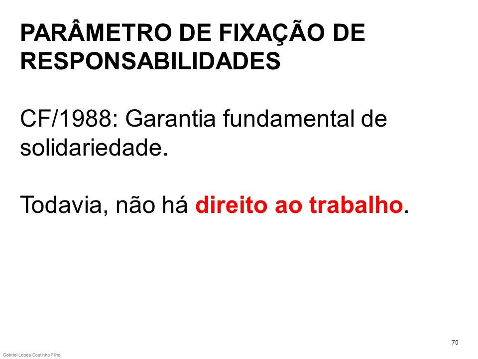 PARÂMETRO DE FIXAÇÃO DE RESPONSABILIDADES CF/1988: Garantia fundamental de solidariedade. Todavia, não há direito ao trabalho.