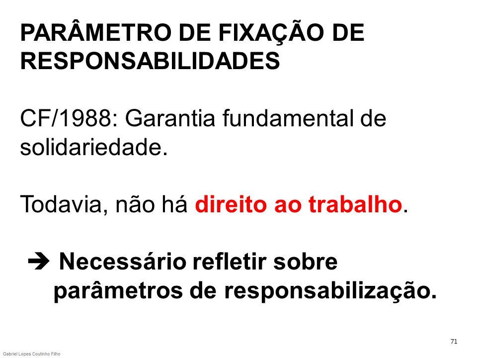 PARÂMETRO DE FIXAÇÃO DE RESPONSABILIDADES CF/1988: Garantia fundamental de solidariedade. Todavia, não há direito ao trabalho.  Necessário refletir sobre parâmetros de responsabilização.