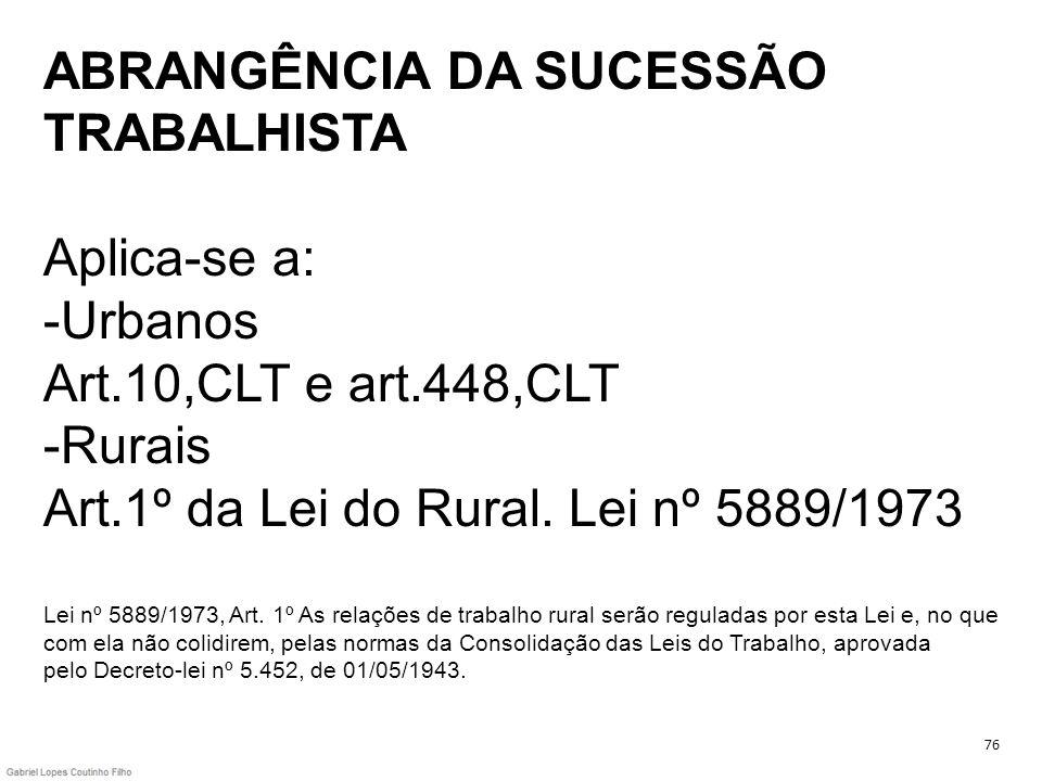 ABRANGÊNCIA DA SUCESSÃO TRABALHISTA Aplica-se a: -Urbanos Art
