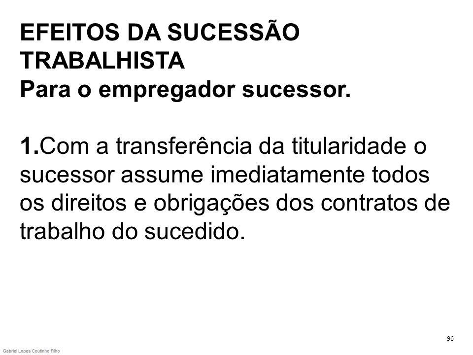 EFEITOS DA SUCESSÃO TRABALHISTA Para o empregador sucessor. 1
