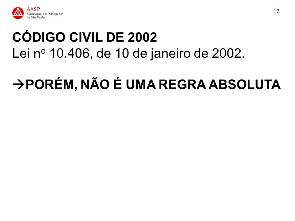12 CÓDIGO CIVIL DE 2002 Lei no 10.406, de 10 de janeiro de 2002. PORÉM, NÃO É UMA REGRA ABSOLUTA