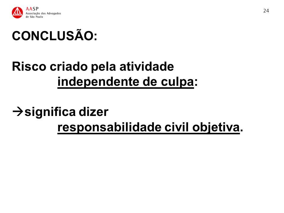 24 CONCLUSÃO: Risco criado pela atividade independente de culpa: significa dizer responsabilidade civil objetiva.