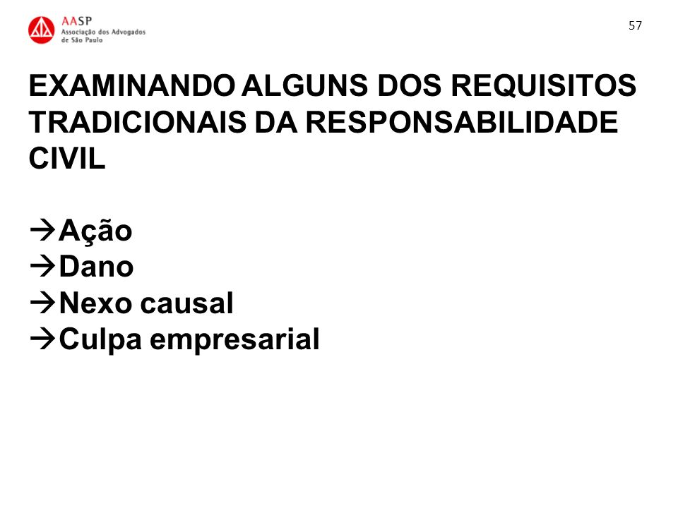 57 EXAMINANDO ALGUNS DOS REQUISITOS TRADICIONAIS DA RESPONSABILIDADE CIVIL Ação Dano Nexo causal Culpa empresarial.