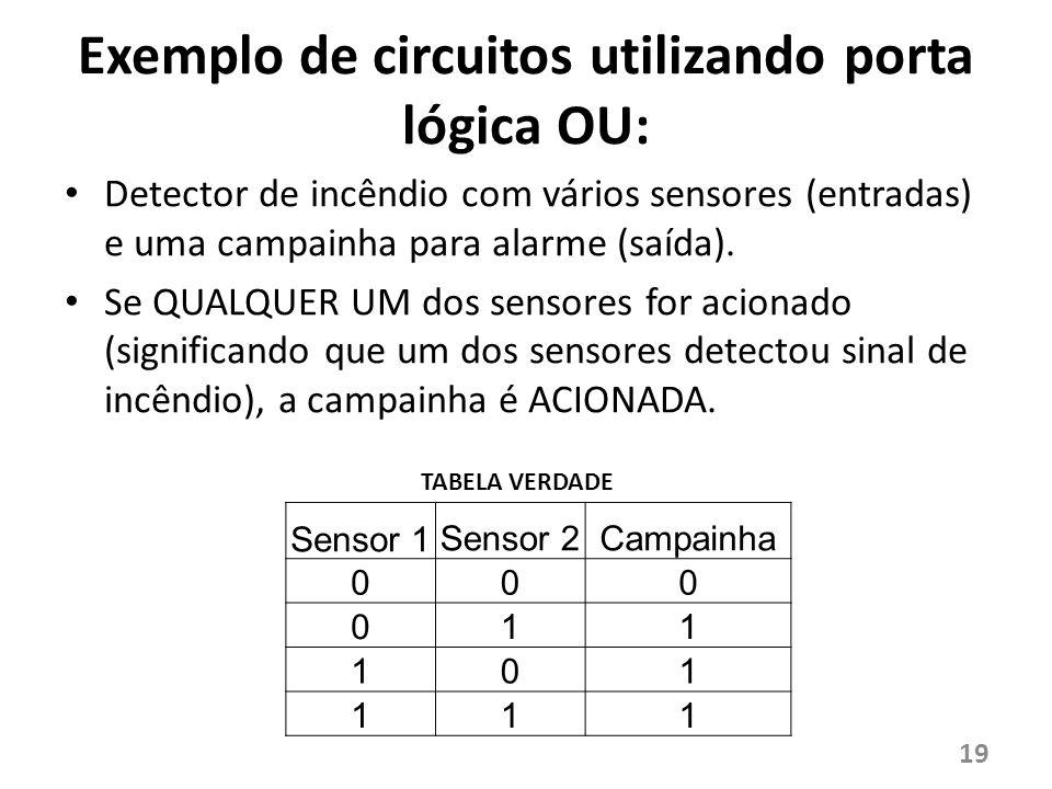 Exemplo de circuitos utilizando porta lógica OU: