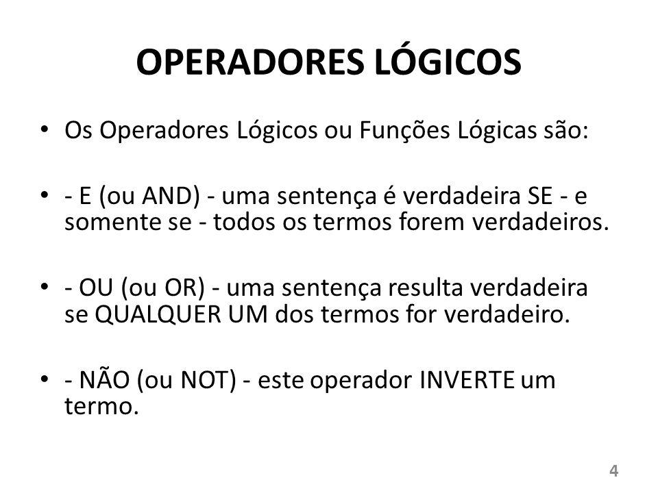 OPERADORES LÓGICOS Os Operadores Lógicos ou Funções Lógicas são: