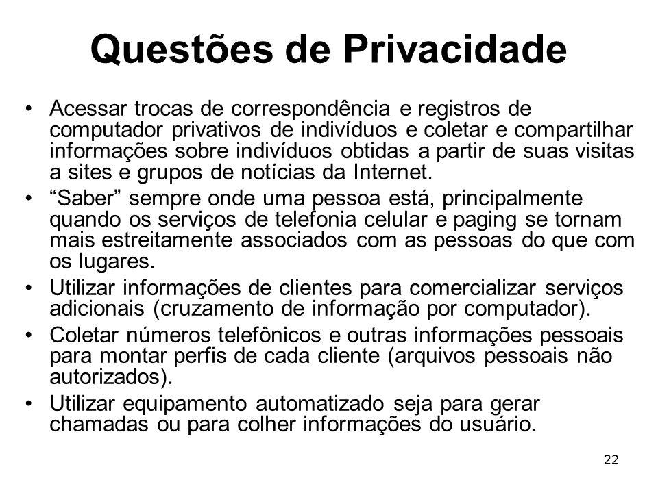 Questões de Privacidade