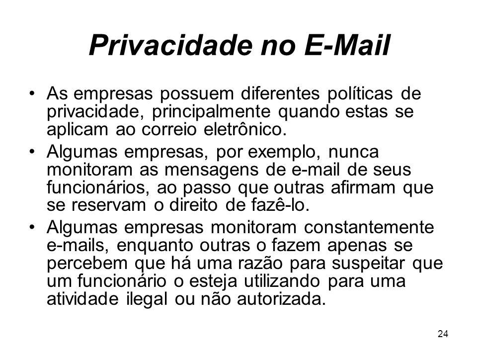 Privacidade no E-Mail As empresas possuem diferentes políticas de privacidade, principalmente quando estas se aplicam ao correio eletrônico.