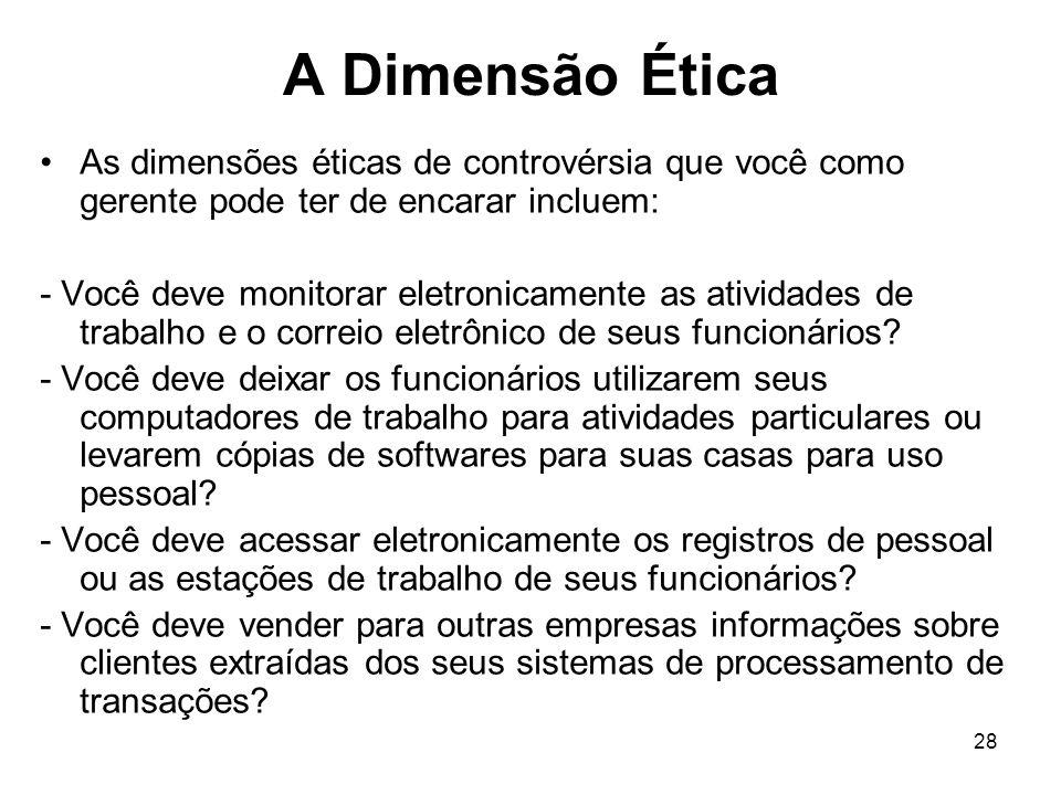 A Dimensão Ética As dimensões éticas de controvérsia que você como gerente pode ter de encarar incluem: