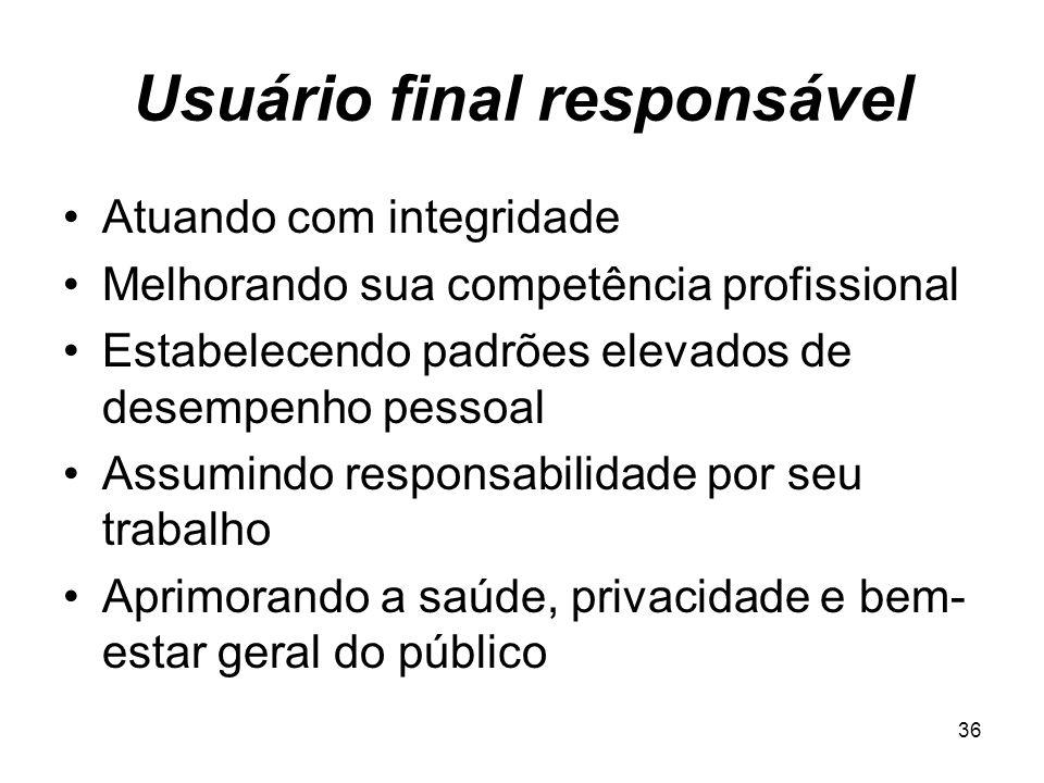 Usuário final responsável