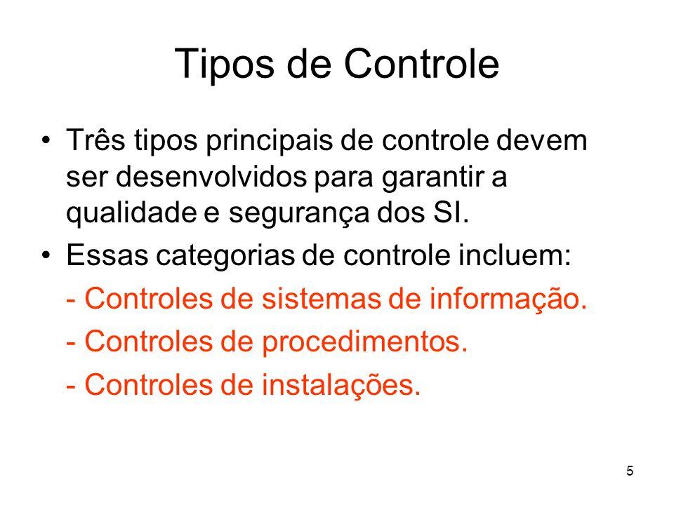 Tipos de Controle Três tipos principais de controle devem ser desenvolvidos para garantir a qualidade e segurança dos SI.