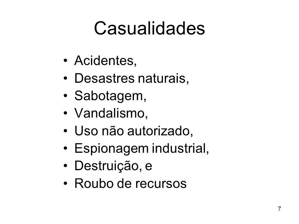 Casualidades Acidentes, Desastres naturais, Sabotagem, Vandalismo,