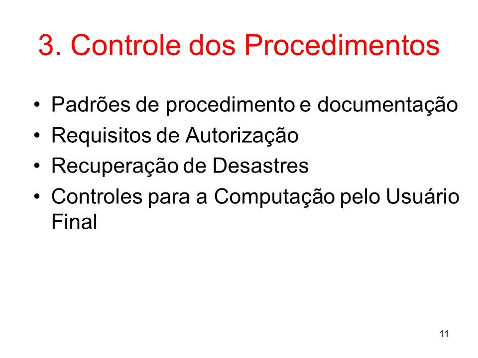 3. Controle dos Procedimentos