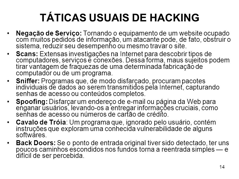 TÁTICAS USUAIS DE HACKING