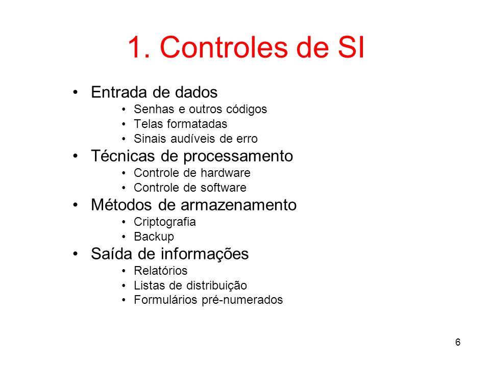 1. Controles de SI Entrada de dados Técnicas de processamento