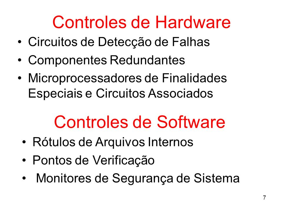 Controles de Hardware Controles de Software
