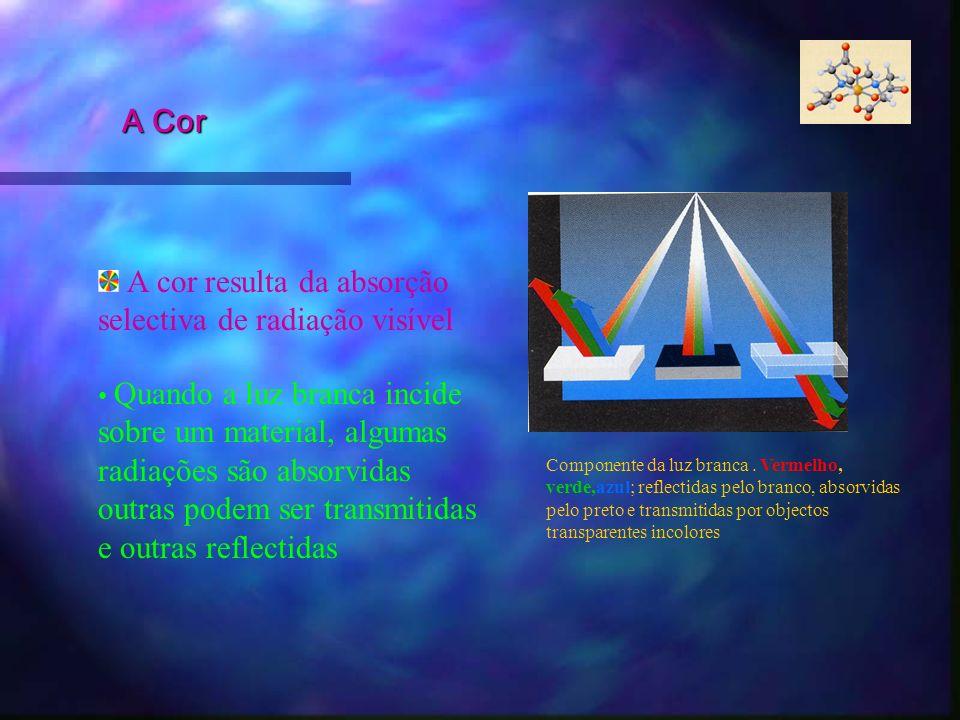 A cor resulta da absorção selectiva de radiação visível