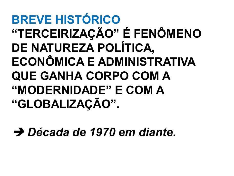 BREVE HISTÓRICO TERCEIRIZAÇÃO É FENÔMENO DE NATUREZA POLÍTICA, ECONÔMICA E ADMINISTRATIVA QUE GANHA CORPO COM A MODERNIDADE E COM A.