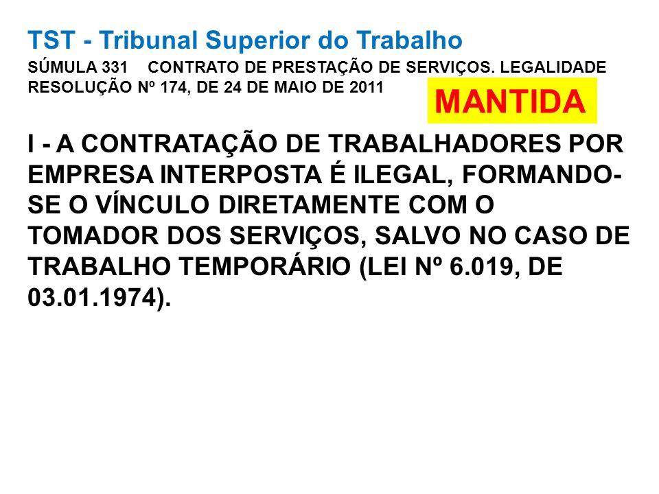 TST - Tribunal Superior do Trabalho SÚMULA 331 CONTRATO DE PRESTAÇÃO DE SERVIÇOS. LEGALIDADE RESOLUÇÃO Nº 174, DE 24 DE MAIO DE 2011 I - A CONTRATAÇÃO DE TRABALHADORES POR EMPRESA INTERPOSTA É ILEGAL, FORMANDO-SE O VÍNCULO DIRETAMENTE COM O TOMADOR DOS SERVIÇOS, SALVO NO CASO DE TRABALHO TEMPORÁRIO (LEI Nº 6.019, DE 03.01.1974).