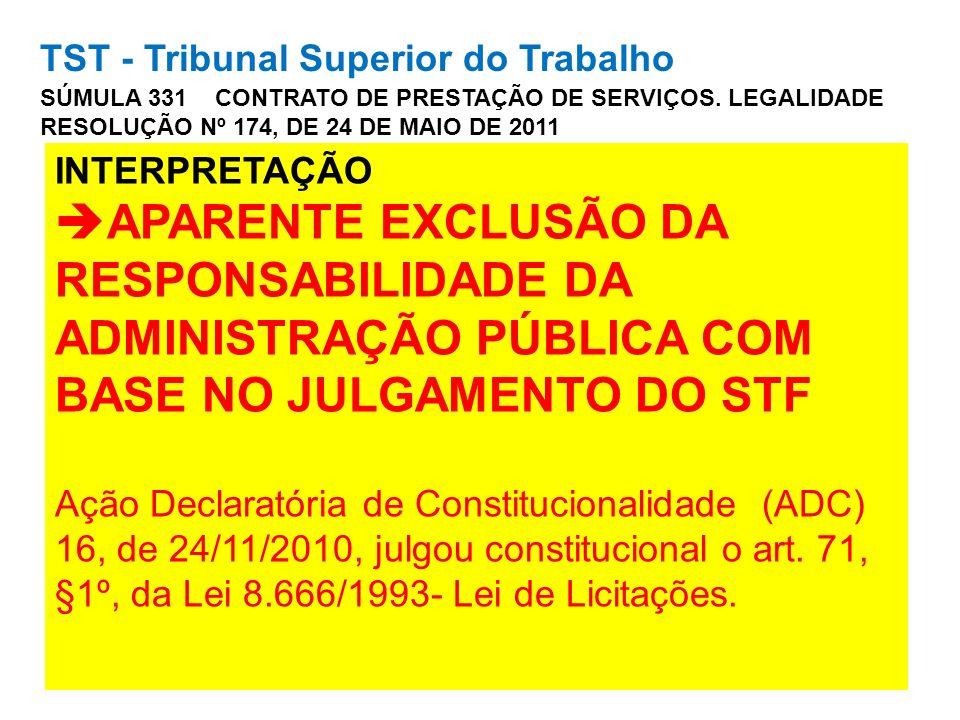 TST - Tribunal Superior do Trabalho SÚMULA 331 CONTRATO DE PRESTAÇÃO DE SERVIÇOS. LEGALIDADE RESOLUÇÃO Nº 174, DE 24 DE MAIO DE 2011