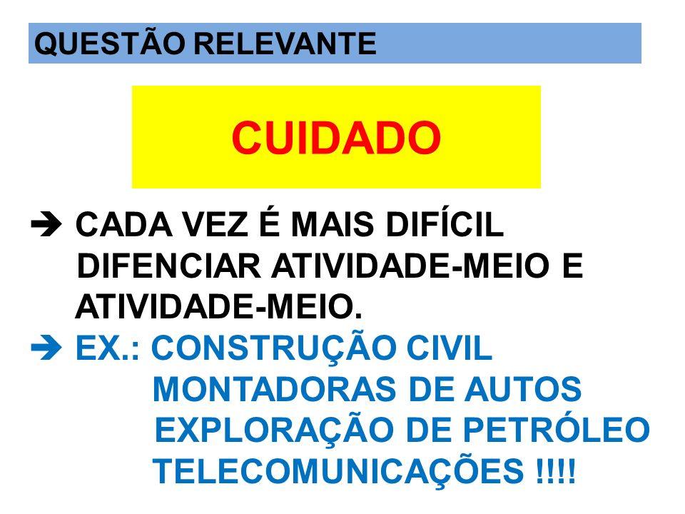 QUESTÃO IMPORTANTE  CADA VEZ É MAIS DIFÍCIL DIFENCIAR ATIVIDADE-MEIO E ATIVIDADE-MEIO.  EX.: CONSTRUÇÃO CIVIL MONTADORAS DE AUTOS EXPLORAÇÃO DE PETRÓLEO TELECOMUNICAÇÕES !!!!