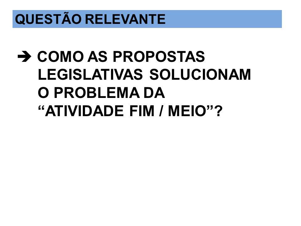 QUESTÃO IMPORTANTE  COMO AS PROPOSTAS LEGISLATIVAS SOLUCIONAM O PROBLEMA DA ATIVIDADE FIM / MEIO