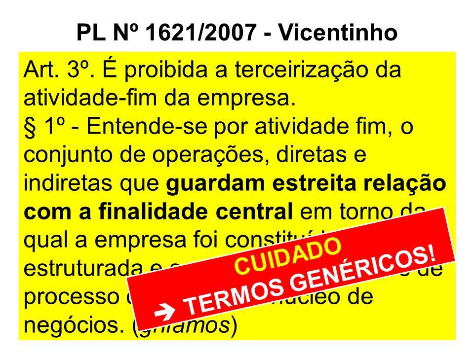 PL Nº 1621/2007 - Vicentinho Art. 3º. É proibida a terceirização da atividade-fim da empresa.