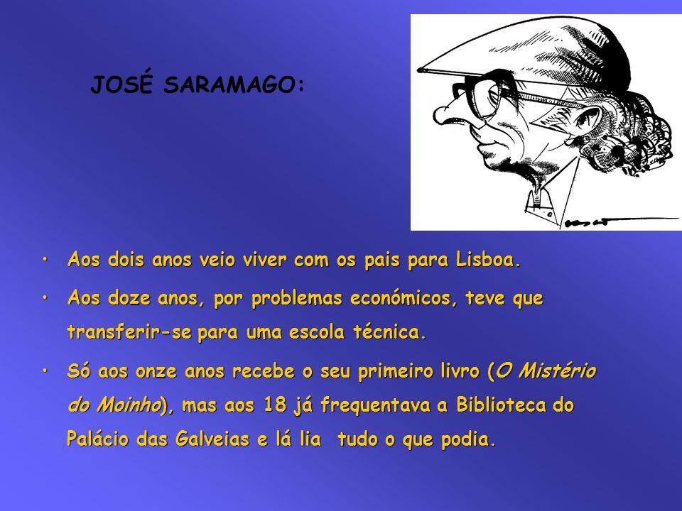 JOSÉ SARAMAGO: Aos dois anos veio viver com os pais para Lisboa.