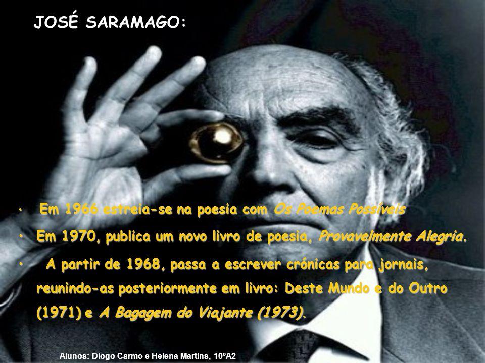 JOSÉ SARAMAGO: Em 1966 estreia-se na poesia com Os Poemas Possíveis. Em 1970, publica um novo livro de poesia, Provavelmente Alegria.