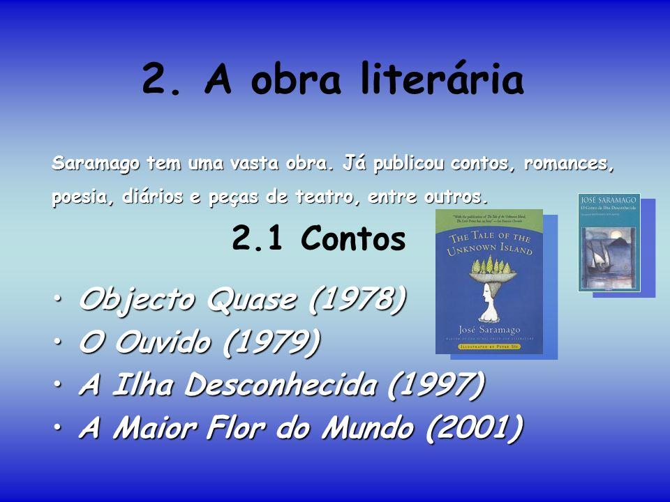 2. A obra literária 2.1 Contos Objecto Quase (1978) O Ouvido (1979)