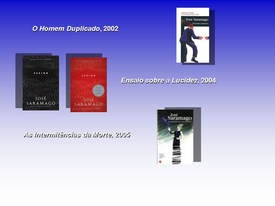 O Homem Duplicado, 2002 Ensaio sobre a Lucidez, 2004 As Intermitências da Morte, 2005