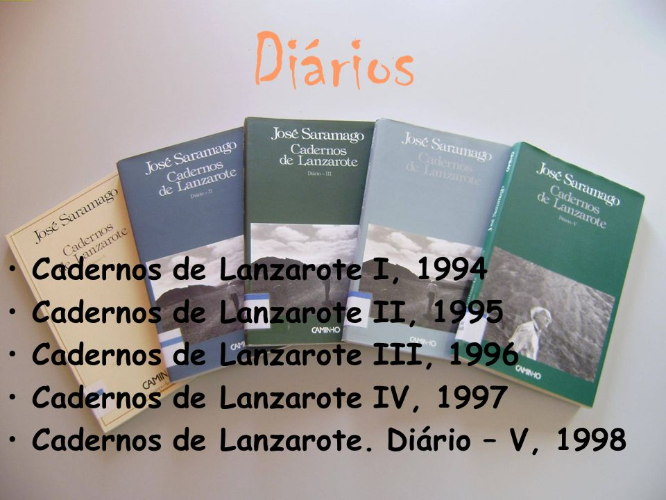 Diários Cadernos de Lanzarote I, 1994 Cadernos de Lanzarote II, 1995