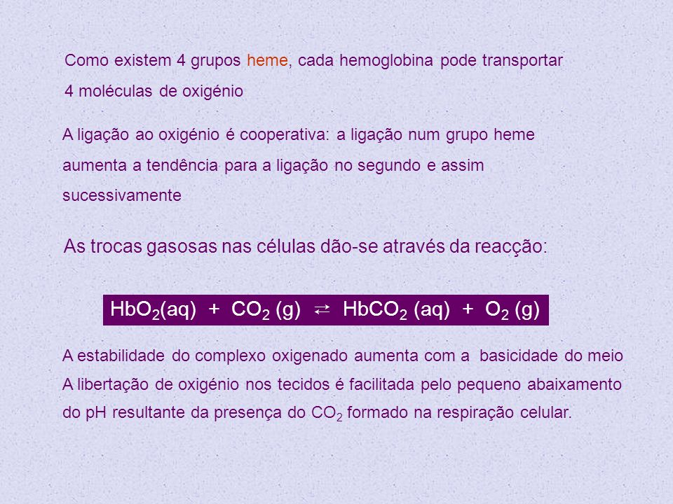 HbO2(aq) + CO2 (g) ⇄ HbCO2 (aq) + O2 (g)