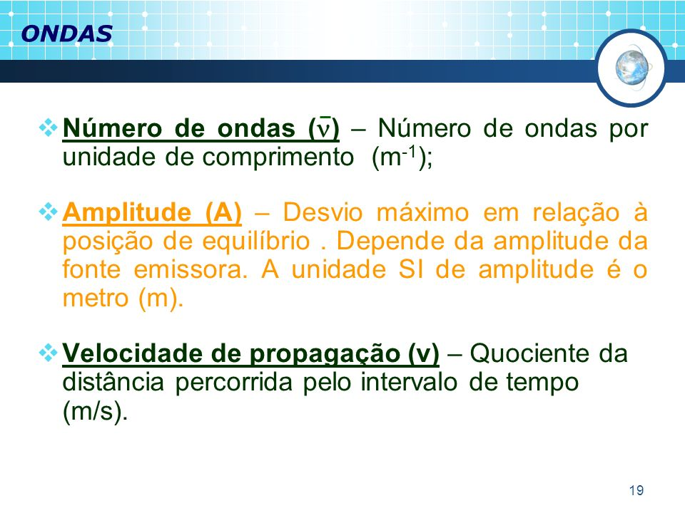 ONDASNúmero de ondas () – Número de ondas por unidade de comprimento (m-1);