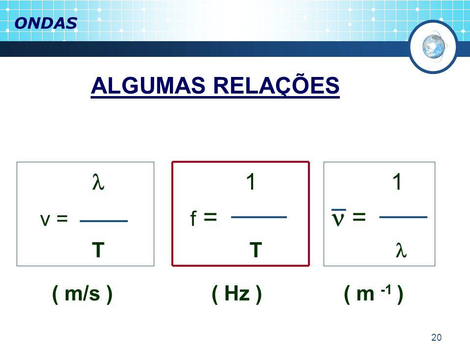 ONDASALGUMAS RELAÇÕES.  1 1. v = f =  =