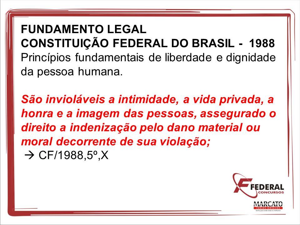 FUNDAMENTO LEGAL CONSTITUIÇÃO FEDERAL DO BRASIL - 1988 Princípios fundamentais de liberdade e dignidade da pessoa humana.
