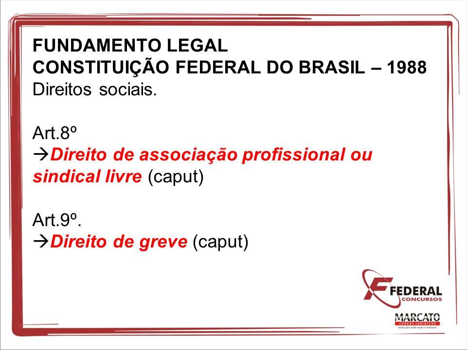 FUNDAMENTO LEGAL CONSTITUIÇÃO FEDERAL DO BRASIL – 1988 Direitos sociais.