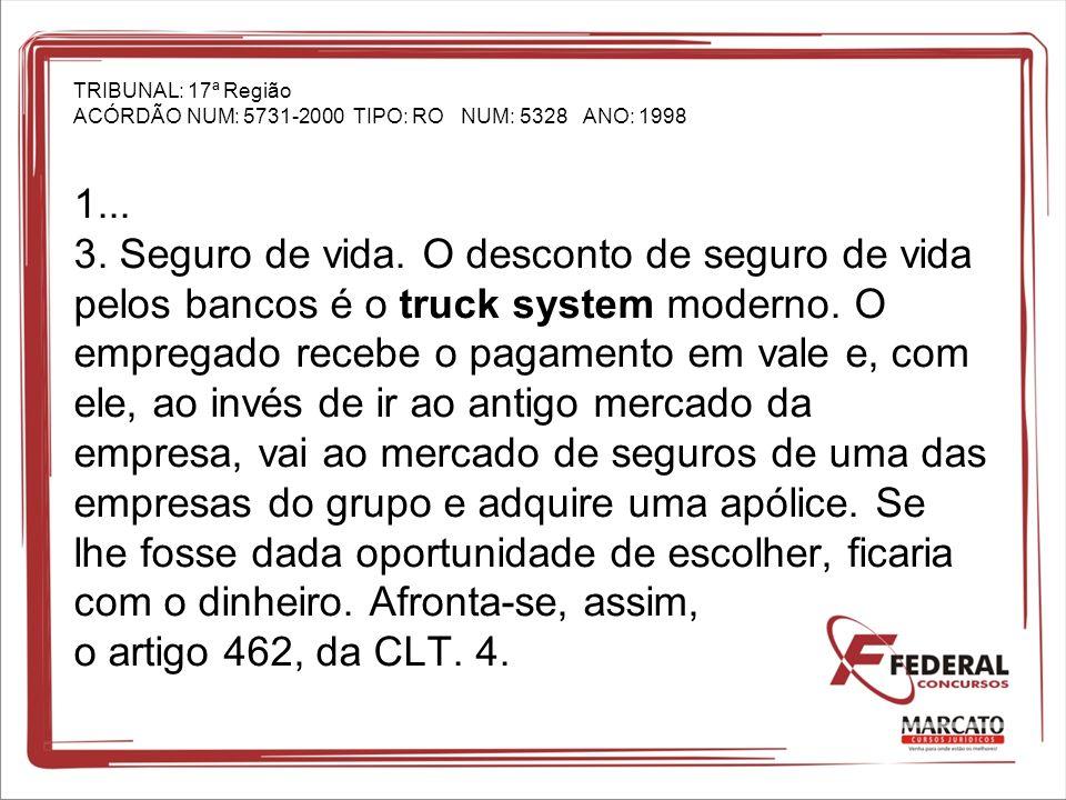 TRIBUNAL: 17ª Região ACÓRDÃO NUM: 5731-2000 TIPO: RO NUM: 5328 ANO: 1998 1...